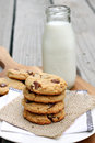Cookies and milk peanut butter chocolate chip a bottle of Royalty Free Stock Photography