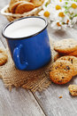 Cookies and mug with milk on the table Stock Image