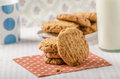 Cookies with peanut butter wholegrain delicious milk Stock Photo