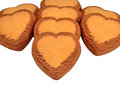 Cookies in a row heart shaped on white background Royalty Free Stock Photography