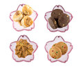 Cookies in sakura bowl bowls isolated on white background Stock Image