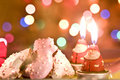Cookies and Santa candle for Christmas Royalty Free Stock Photos
