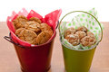 Cookies in small buckets.