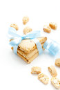 Cookies stack of homemade tied with a blue ribbon on a white background Royalty Free Stock Photo