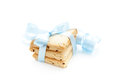 Cookies stack of homemade tied with a blue ribbon on a white background Stock Photography