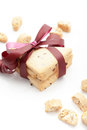Cookies stack of homemade tied with a burgundy ribbon on white background Royalty Free Stock Photo