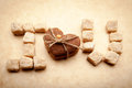 Cookies and sugar message i love you made ​​of in the shape of heart homebaked Stock Photo