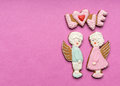 Cookies with the text of love and angels couple on valentine s day Stock Images