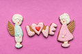Cookies with the text of love and angels couple on valentine s day Royalty Free Stock Images