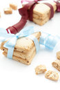 Cookies two stacks of homemade tied with a burgundy and blue ribbons on a white background Stock Images