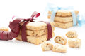 Cookies two stacks of homemade tied with a burgundy and blue ribbons on a white background Royalty Free Stock Image