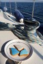 Cookies on a yacht sailing Stock Images