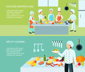 Cooking art banner set master class and of culinary flat color vector illustration Royalty Free Stock Images