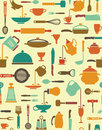 Cooking background seamless with icons of kitchen ware and utensils Royalty Free Stock Photography