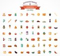 Cooking backing flat icons kitchenware elements vector Royalty Free Stock Images