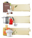 Cooking banners highly detailed in retro style Royalty Free Stock Images