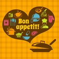 Cooking bon appetit poster food kitchen with pan and restaurant icons vector illustration Stock Photography