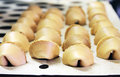 Cooking chinese fortune biscuits industry Royalty Free Stock Photography