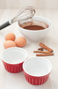 Cooking chocolate cakes ingredients Royalty Free Stock Photo