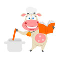 Cooking cow illustration of chef on white background Stock Photos