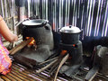 Cooking on danau lake tempe in sulawesi kitchen at floating village house near sangkeng south indonesia Stock Photo