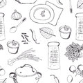 Cooking dinner background hand drawing sketch Stock Image