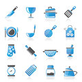 Cooking equipment icons vector icon set Royalty Free Stock Image