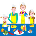 Cooking family vector illustration of on white background Royalty Free Stock Images