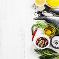 Cooking fish fresh dorado and vegetables on wooden board food and drink Stock Photo