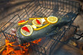 Cooking fish over open fire Royalty Free Stock Photo