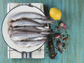 Cooking fish a plate with on the kitche table and ingredients to cook it Royalty Free Stock Photos