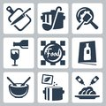 Cooking food and dining related vector icons set Royalty Free Stock Photo