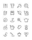 Cooking, food preparation and kitchen tools vector icons