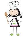 Cooking girl little illustration isolated on white Stock Images