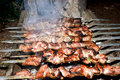 Cooking on the grill juicy meat Royalty Free Stock Photo