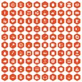 100 cooking icons hexagon orange