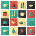 Cooking icons of kitchen ware and utensils Stock Images