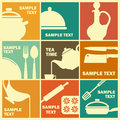 Cooking icons symbols in retrostylee food Royalty Free Stock Images