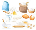 Cooking illustration. Kitchen utensils. Food sugar salt flour starch oil butter baking soda baking powde, vinegar eggs Web