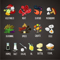 Cooking ingredients isolated colors icons set. Food. Meat and vegetables. Realistic vector illustration.