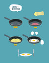 Cooking instruction. Manual cooking scrambled eggs. Fry  omelett Royalty Free Stock Photo