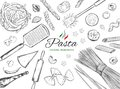 Cooking Italian Pasta template. Different types of pasta. Vector hand drawn illustration Royalty Free Stock Photo