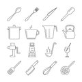 Cooking and kitchen tools line vector icons Royalty Free Stock Photo