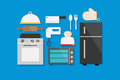 Cooking and Kitchen Utensil Flat Design Vector Illustration Element Icons Set Royalty Free Stock Photo