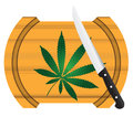 Cooking marijuana cannabis leaf on a board with a knife vector illustration Royalty Free Stock Photo