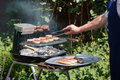 Cooking meat on a Barbecue Royalty Free Stock Photo