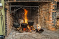 Cooking on Open Hearth Royalty Free Stock Photo