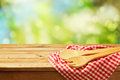 Cooking outdoor background with wooden spoons Royalty Free Stock Photo