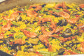 Cooking paella is a typical spanish rice food is now ready to eat preparing vintage set Stock Photo