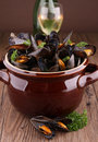 Cooking pot with mussels Stock Photography